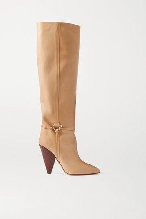 Lazu Leather Knee Boots - Beige