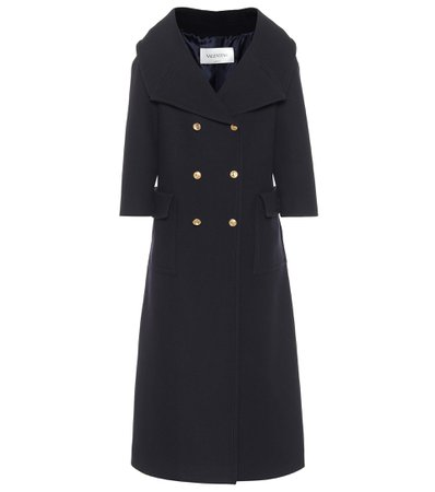 Valentino, Navy Double-Breasted Wool Coat