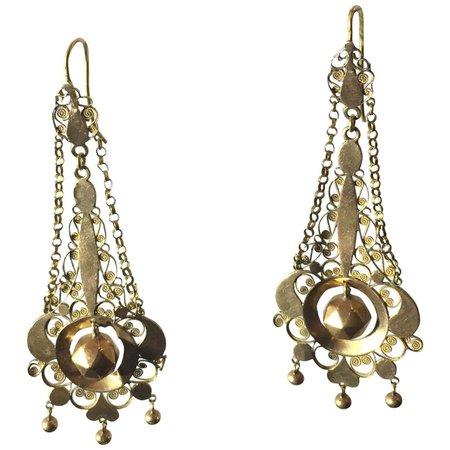 Gold Filigree Earrings 18 Karat For Sale at 1stDibs