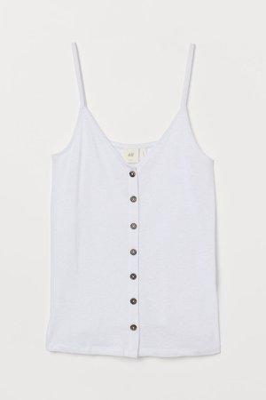 Linen-blend Camisole Top - White