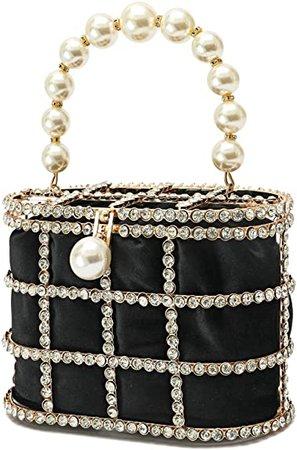 CARIEDO Women Evening Clutch Bag Beaded Pearl Clutch Purse with Diamonds for Prom Wedding Party (Black): Handbags: Amazon.com