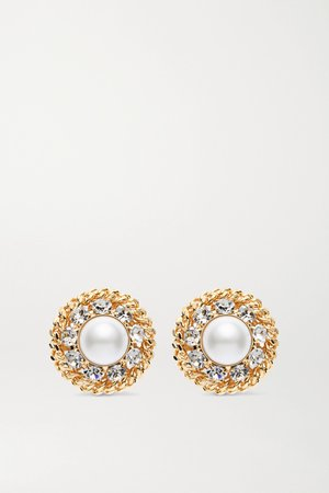 Gold Oversized gold-plated, faux pearl and crystal clip earrings | Alessandra Rich | NET-A-PORTER