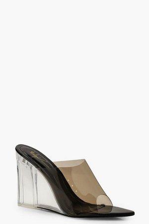 Clear Wedge Mules | Boohoo Brown