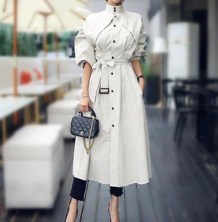 Модный Элегантный весенне осенний Тренч из чистого хлопка с длинными рукавами, с поясом, верхняя одежда, стильные офисные женские модные пальто-in Тренч from Женская одежда on Aliexpress.com   Alibaba Group