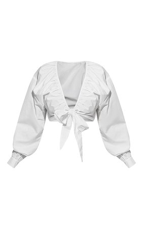 Plus White Tie Front Ruched Blouse   PrettyLittleThing USA