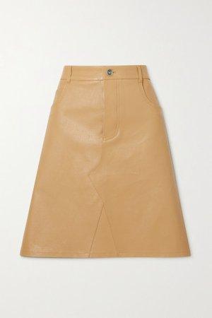 Leather Skirt - Beige