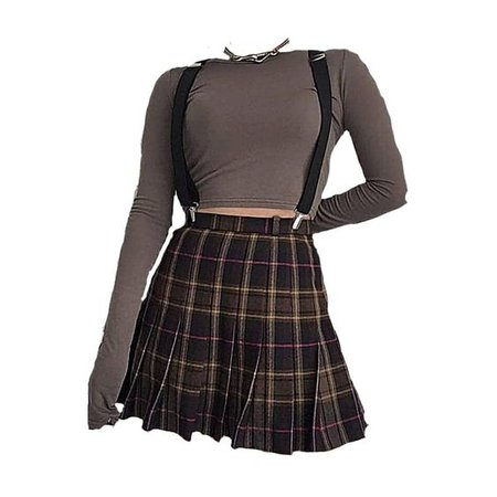 Off Grey Long Sleeve Shirt & Plaid Skirt w/ Suspenders (png)