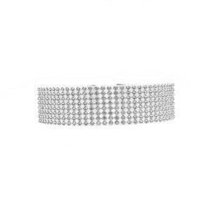 Crystal Rhinestone Choker Silver