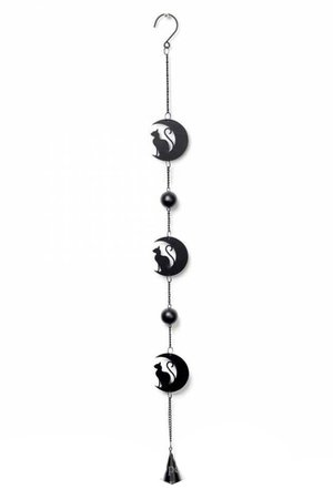 Black Cat Moon Hanging Decoration by Alchemy Gothic   Gifts