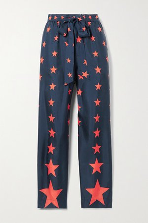 AZ Factory - Pijama You're A Star Printed Silk-twill Wide-leg Pants - Navy