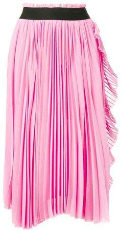 ruffled-trim pleated skirt