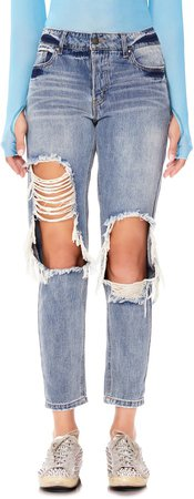 Cyrus Ripped High Waist Ankle Jeans