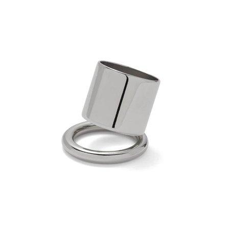 Tilt Ring in Rhodium | Lady Grey