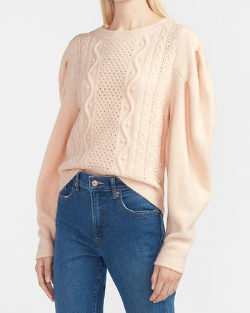 Cable Knit Puff Sleeve Sweater | Express