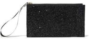 Glittered Canvas And Velvet Clutch