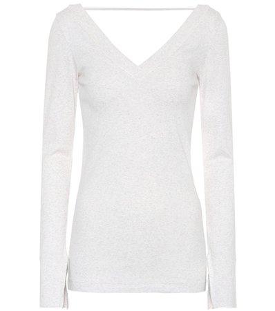 Stretch-cotton V-neck sweater