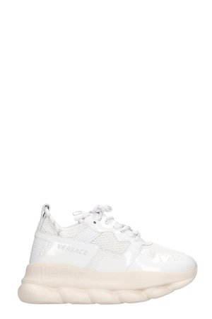 Versace Chain Reaction Sneakers In White Patent Leather