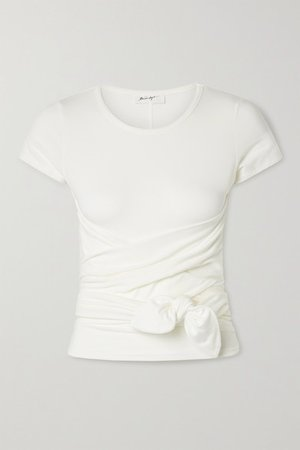 Jeanne Knotted Stretch-cotton Jersey T-shirt - White