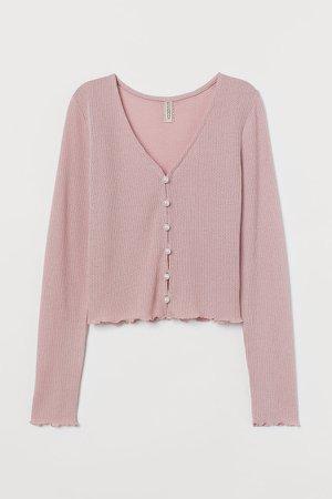 Waffle-knit Cardigan - Pink