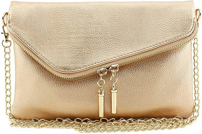 Envelope Wristlet Clutch Crossbody Bag with Chain Strap (Rose Gold): Handbags: Amazon.com
