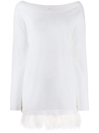 P.a.r.o.s.h. Fringed Long-Sleeve Top LOWNYD510226 White | Farfetch