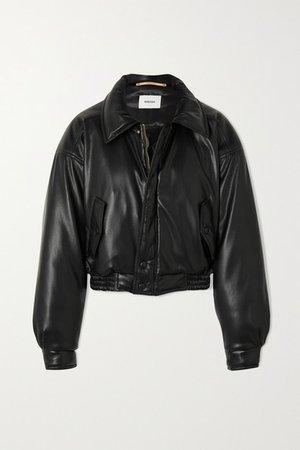 Bomi Vegan Leather Bomber Jacket - Black