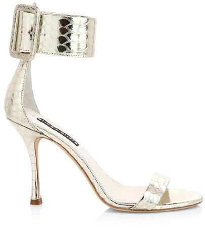 Dolora Crocodile-Embossed Metallic Leather Sandals