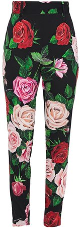 Floral-print Silk-blend Crepe De Chine Slim-leg Pants
