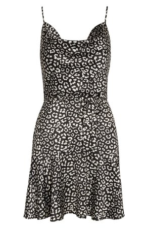 Willow Freddie Animal Print Cowl Neck Satin Minidress black