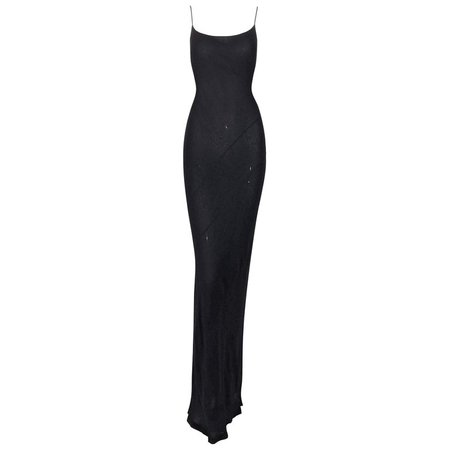 1997 Gucci by Tom Ford Semi-Sheer Black Silk Flowy Gown Dress For Sale at 1stdibs