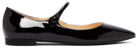 Patent Leather Mary Jane Flats - Womens - Black