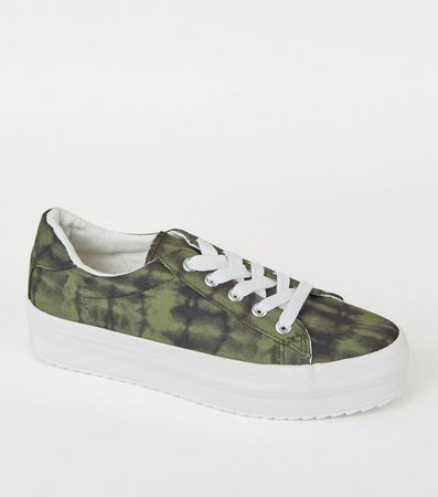 Green Camo Print Lace Up Flatform Trainers | New Look