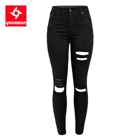1878 Youaxon Women`s Celebrity Ripped Stretch Black Destroyed Skinny Denim Pants Trousers Ferminio Jean Jeans For Women|jeans clasic|trouser designstrouser style jeans - AliExpress