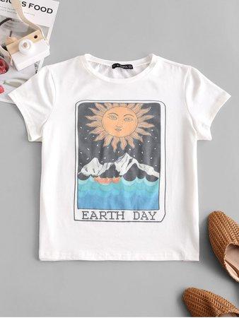[32% OFF] [POPULAR] 2020 ZAFUL Sun Mountain Graphic Earth Day Tee In WHITE | ZAFUL