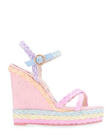 Sophia Webster Ines Pastel Wedge Espadrille Sandals