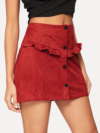 red curly skirt