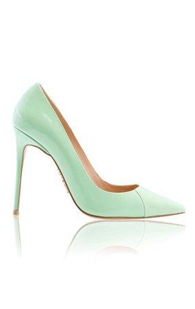 "Shoes: 'PARIS' Mint Patent Leather Pointy Toe Heels 4"""