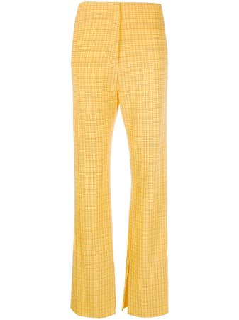 Shop yellow Nanushka Tabbie flared check trousers with Express Delivery - Farfetch