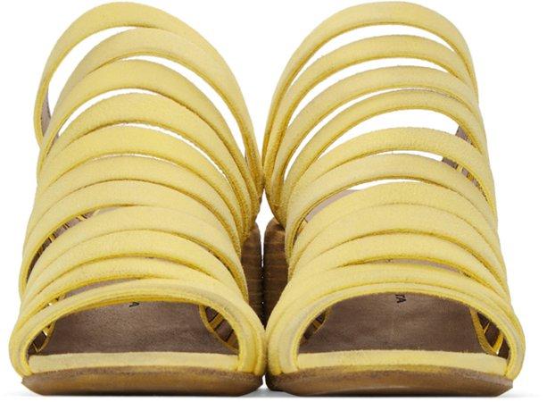 Eckhaus Latta: Yellow Marsèll Edition Suede Strappy Sandals | SSENSE