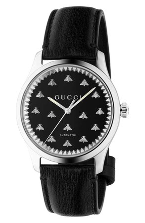 Gucci Bee Automatic Leather Strap Watch, 42mm   Nordstrom