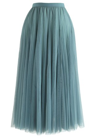 My Secret Weapon Tulle Maxi Skirt in Turquoise - Retro, Indie and Unique Fashion
