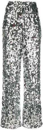 sequin embellished tulle trousers