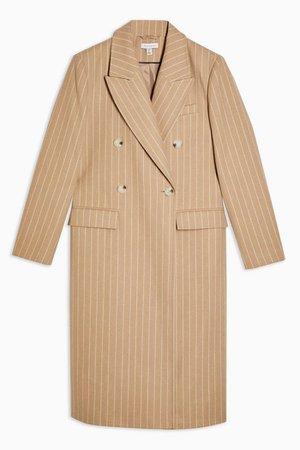 Camel Striped Coat   Topshop