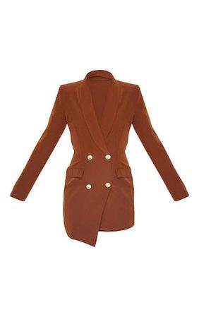 Chocolate Gold Button Blazer Dress | Dresses | PrettyLittleThing