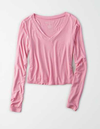 AE Long Sleeve V-Neck Cropped T-Shirt pink