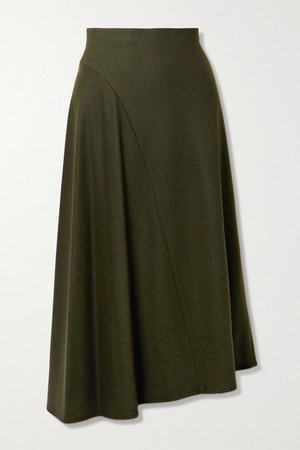 Asymmetric Wool-blend Midi Skirt - Dark green
