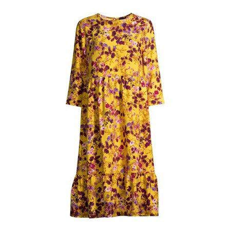 Scoop - Scoop Women's Tiered Maxi Dress, Mustard Wildflower - Walmart.com - Walmart.com yellow