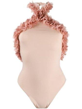 LA REVECHE Khalifa flower appliqué swimsuit