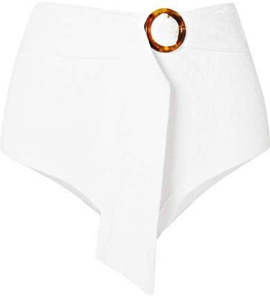 Peony - Belted Jacquard-knit Bikini Briefs - White