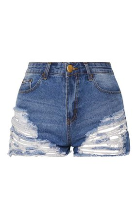Ecru Jeanie Extreme Ripped Mom Denim Shorts | PrettyLittleThing